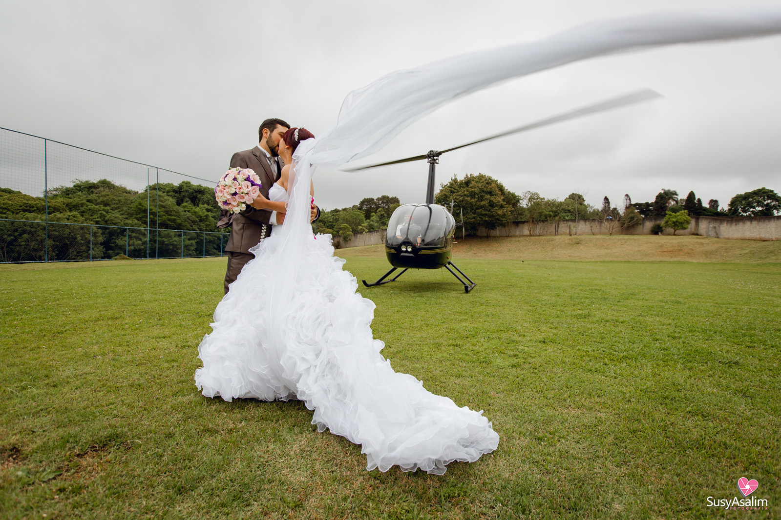 Fotografia de Casamento com Helicoptero - Tatielli e Rogerson - Chácara Encanto das Areias